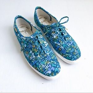 Rifle Paper Co KEDS blue floral size 9.5 women's